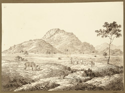 View of hills from the camp at Morubha chuck (Bihar). 21 December 1824